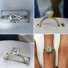 1.25 Ct Round Forever Moissanite Solitaire Engagement Ring 14k White Gold Finish