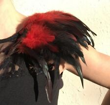Feather Shoulder Pads, Black and Red colour Epaulettes
