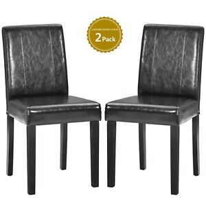 Set of 2 Modern Dining Chairs Kitchen Chair Leather with Solid Wooden Legs Black