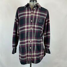 Soft Surroundings Flannel Shirt Elbow Patch M Medium Embroidered Elbow Batch