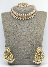 Uk Bollywood Indian Gold/Pink Choker Necklace Set Earrings+tikka kundan jewelry