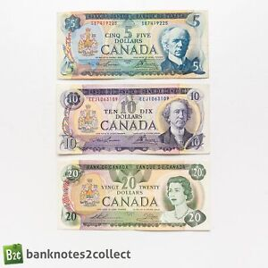 CANADA: Set of 3 Canadian Dollar Banknotes.