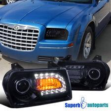 2005-2010 Chrysler 300 Smoke Tinted LED Signal Projector Headlights Glossy Black
