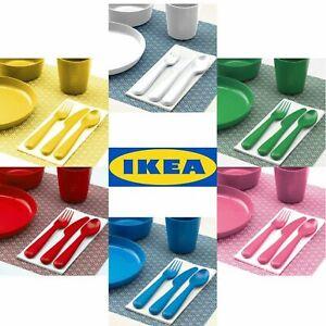 IKEA Kalas SINGLE COLOUR set of 6 - Children's Kids Plate Cup Bowl & 3pc Cutlery