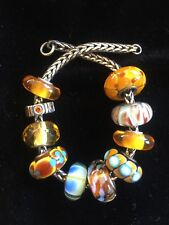set 10 authenticTrollbead & Chamilia gold yellow amber color murano glass beads!