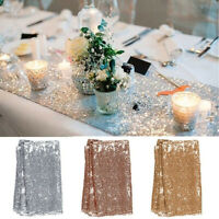 "12""x72"" Rectangle Table Runner Sequins Tablecloth Table Flag Wedding Party Decor"