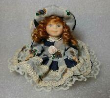 Cameo Kids Doll 4 Inch Miniature Porcelain Posable Arms Legs Auburn / Blue Eyes