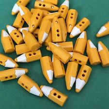 8 x 20mm Yellow Pencil Shaped Buttons #1052