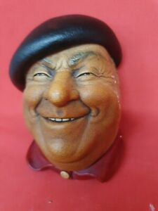 BOSSONS Chalkware Heads Figure - PIERRE the JOLLY FRENCHMAN Wall Hanging Plaque