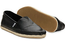 NWOB Toms Classic Black Full Grain Leather Espadrilles Slip Ons Size9.5 Rope
