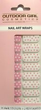 OUTDOOR GIRL 20 Nail Art Wraps/Polish in Dot Pink Mix plus Emery Board