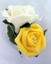 Double rose buttonhole Ivory & Yellow