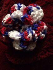 CROCHET ROSE FLOWER FOR Costume ACCESSORY  Or Dog/Cat Colar Red White Blue