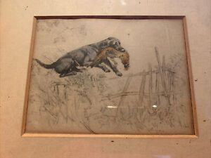 "Vernon Stokes Antique Print Gun Dog and Pheasant, Antique Frame ""Well Over"""