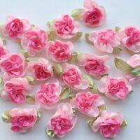 10pcs Pink Satin Ribbon Flowers Sewing Craft Appliques Wedding Decor A0008