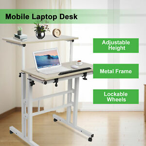 Mobile Stand Up Desk Adjustable Height Sit And Stand  Office Laptop Computer US