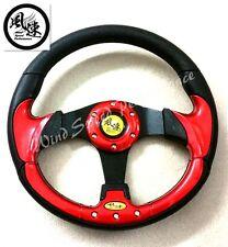 Viento Rendimiento Rojo 320mm plano de cuero PU volante Omp Momo Nardi