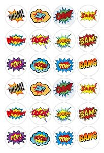 24 x Super Heroes Saying Comic book Phrases Edible image cupcake toppers Pre-Cut