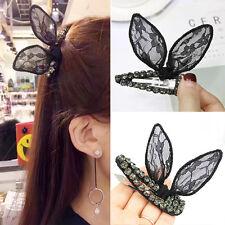 Women Lace BB Clip Bunny Ear Hairpin Crystal Barrette Rabbit Bow Barrettes Black