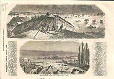 Inondation de la Nièvre pont de Guétin & Nevers / Tête-d'Or à Lyon GRAVURE 1856