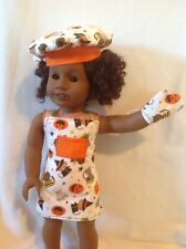 """Halloween cats Oven mitt/apron/hat 18"""" American Girl/Bitty Baby doll clothes"""