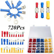 720PCS Electrical Connectors Insulated Spade Wire Crimp Terminal Ring & Box