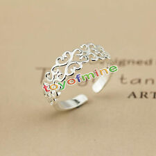 Women 925 Sterling Silver Plated Beautiful Hollowed-out Ring Open Jewelry Gift