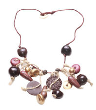 Dark String Button Necklace Multi Charms Beads Pretty &dainty (Zx100)