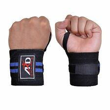 Weight Lifting Training Wrist Support Wraps Gym Cotton Bandage Straps B&Blue 18""