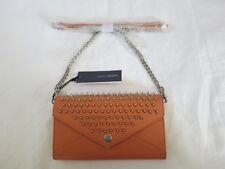 Rebecca Minkoff CORAL 10XELLCRE2 Orange Silver Wallet on Chain with Studs purse