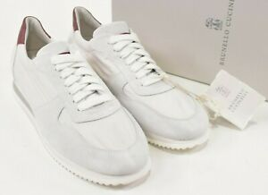 Brunello Cucinelli NWB Leather/Poly Sneakers Sz 42 9 US in White w/ Gray & Burg