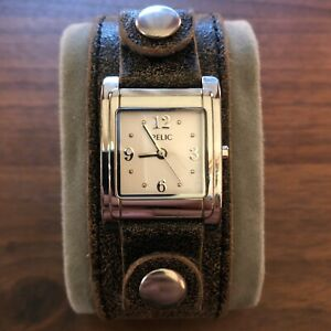 Relic Watch soft Silver Genuine Leather strap woman's White Dial New Battery!