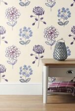 NEXT SET OF 3 MAUVE SURFACE COUNTRY COTTAGE MEADOW PEONY WALLPAPER RRP £105 B-1