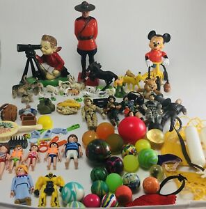 Vintage Toys Mixed Lot Mickey riding bike/bouncy balls/Lanard Soldiers1986 MORE!