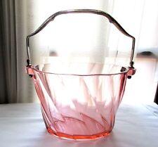Heisey Twist Flamingo Pink Handled Ice Bucket