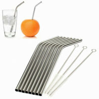 8Pcs Stainless Steel Straws Reusable Bent Metal Drinking Straw 3pc Brush Cleaner
