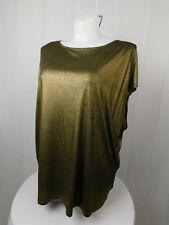 Ralph Lauren Plus Size Draped Metallic Jersey Top 3X, Gold #8323