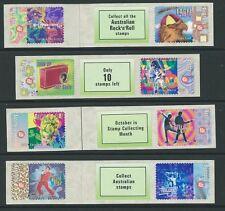 Australia 1998 Rock N Roll Auto Adhesivo Bobina Conjunto de 4 tiras de etiqueta