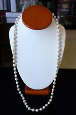VINTAGE SALT WATER BAROQUE PEARLS NECKLACE WITH 14K GOLD BEADS OPERA LENGTH