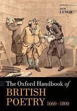 Oxford Handbook Of British Poetry 1660-1800, Lynch, Jack, 9780199600809  REF:144