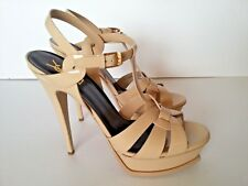 Yves Saint Laurent YSL Tribute Patent Leather Platform Sandal Powder Nude 41.5