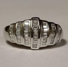 14k white gold womens .52ct VS1 G baguette diamond ring band 5.2g