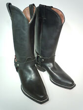 Nordstrom black leather harness boots biker cowboy boots size 4