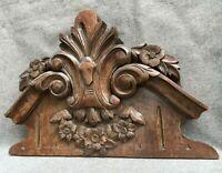 Big antique furniture top ornament early 1900's Henri II style oak woodwork