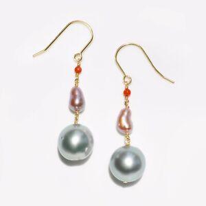 "Handmade!11MM Silver Baroque Tahitian Pearl Earrings 14K Yellow Gold Filled,1.5"""