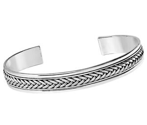 Mens Solid Sterling Silver Braided Detail Open Cuff Bangle Bracelet for Men