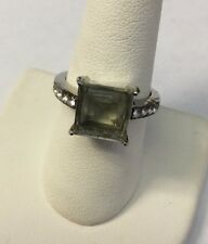 Sterling Silver Green Stone Ring w/ Cubic Zirconia Accent Ring Size 8