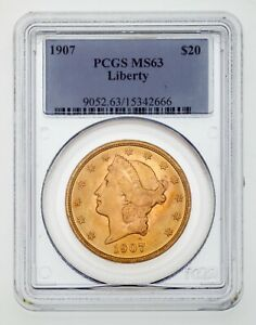 1907 $20 Gold Liberty Double Eagle Graded by PCGS as MS-63