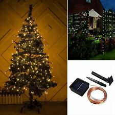 Solar Power Warm White 10M 33FT 100 LED Copper Wire String Fairy Xmas Light Lamp