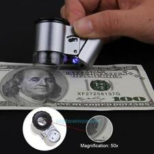 50x Handheld Mini Pocket Microscope Loupe Jeweler Magnifier with 3 LED Light